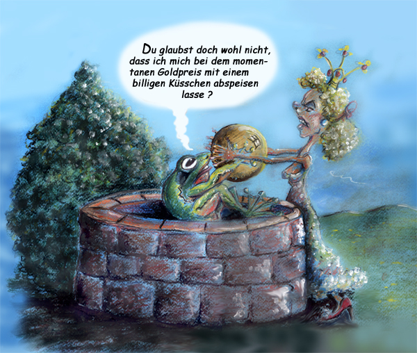 Froschkönig Goldpreis Karikatur Cartoon