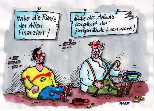 Karikatur Cartoon Rentner Arbeitslose