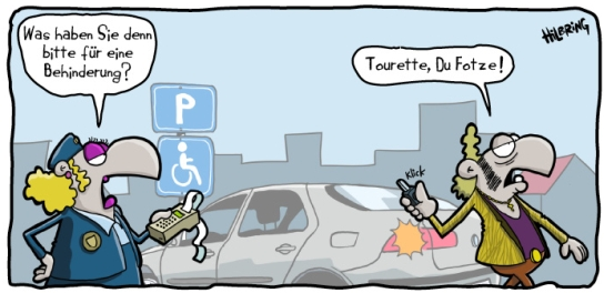 Karikatur Cartoon Tourette Politesse