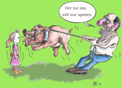 Karikatur Cartoon Kampfhund